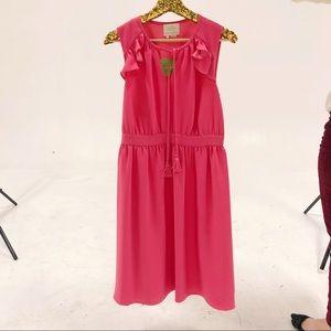 Flamingo pink ruffle tassel dress NWT, M